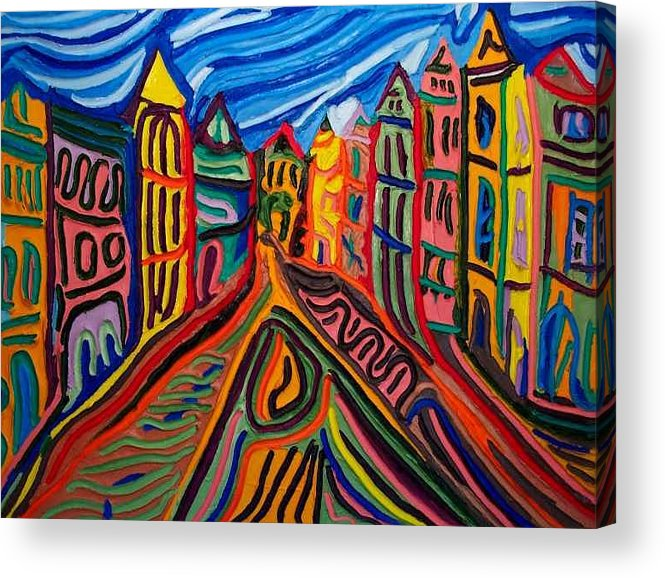 Acrylic Print featuring the painting Prague at Noon by Ira Stark