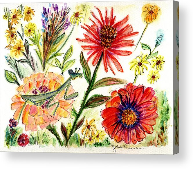 Flowers Nature Botany Drawing Julie Richman Flora Pencil Acrylic Print featuring the painting Praying Mantis Flowers54 by Julie Richman