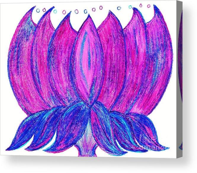 Purple Lotus Acrylic Print featuring the pastel Purple Lotus by Chandelle Hazen
