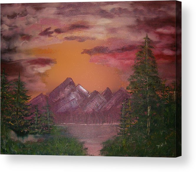 Loriginal Oil Acrylic Print featuring the painting Purple Mountain by Mikki Alhart