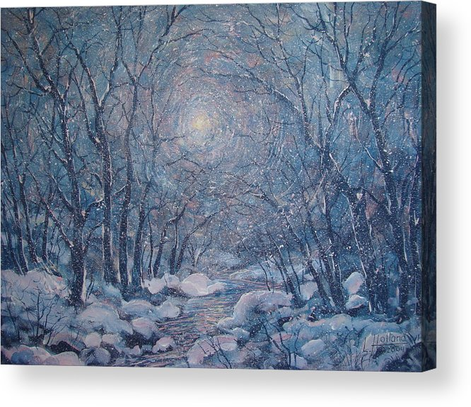 Snow Landscape Acrylic Print featuring the painting Radiant Snow Scene by Leonard Holland