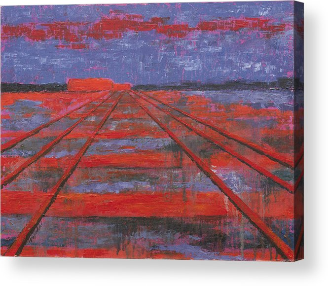 Abstract Art Acrylic Print featuring the painting Railroad into the Dusk by Darko Topalski