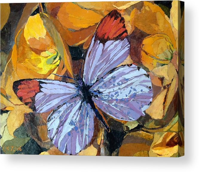 Butterfly Acrylic Print featuring the painting Rainbow Butterfly, For Matisse by Leah Tomaino