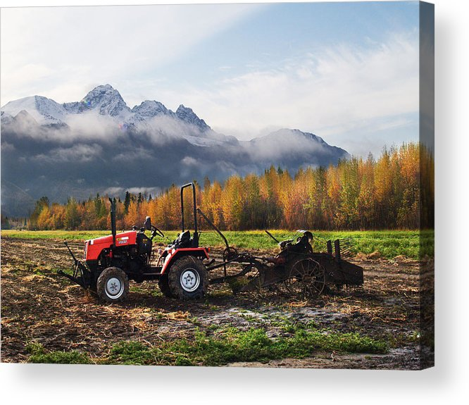 Photography Acrylic Print featuring the photograph Red Tractor in Autumn by Dianne Roberson