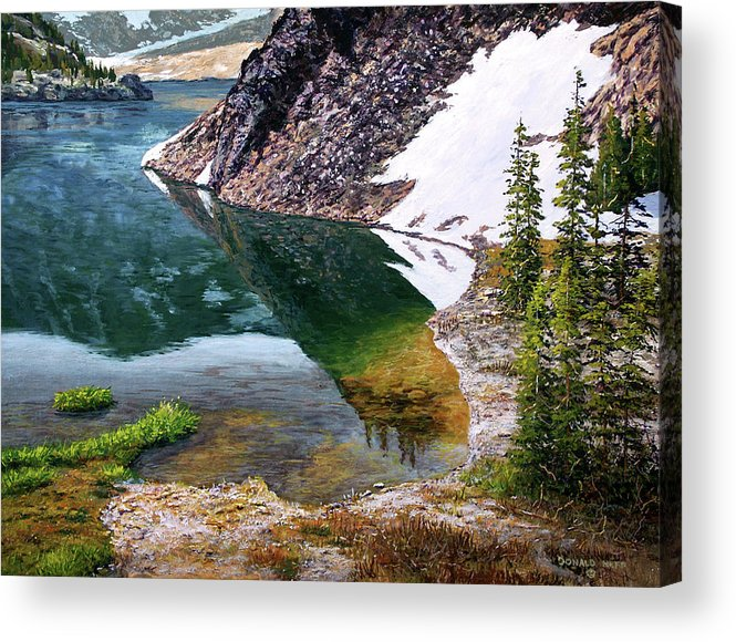 Ellery Lake Acrylic Print featuring the painting Reflections In Ellery by Donald Neff