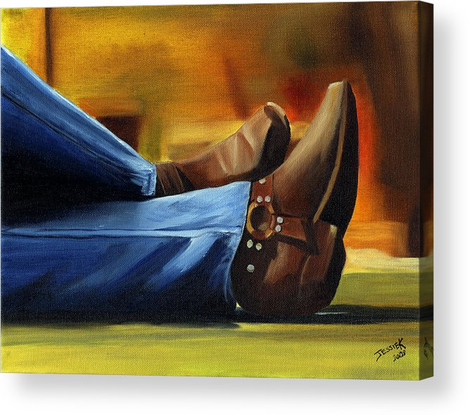 Portrait Acrylic Print featuring the painting Relaxing by Jessica Krogstadt