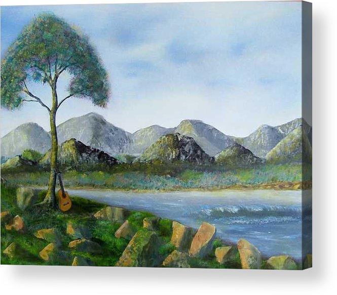Landscapes Acrylic Print featuring the painting Rock Concert by Tony Rodriguez