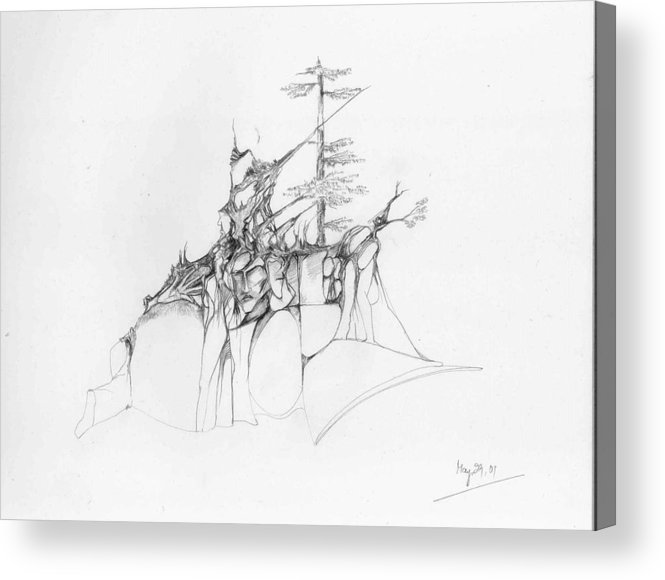 Deodar Acrylic Print featuring the drawing Rocks and trees by Padamvir Singh