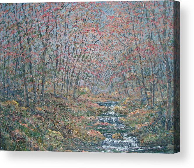 Painting Acrylic Print featuring the painting Rocky Forest. by Leonard Holland