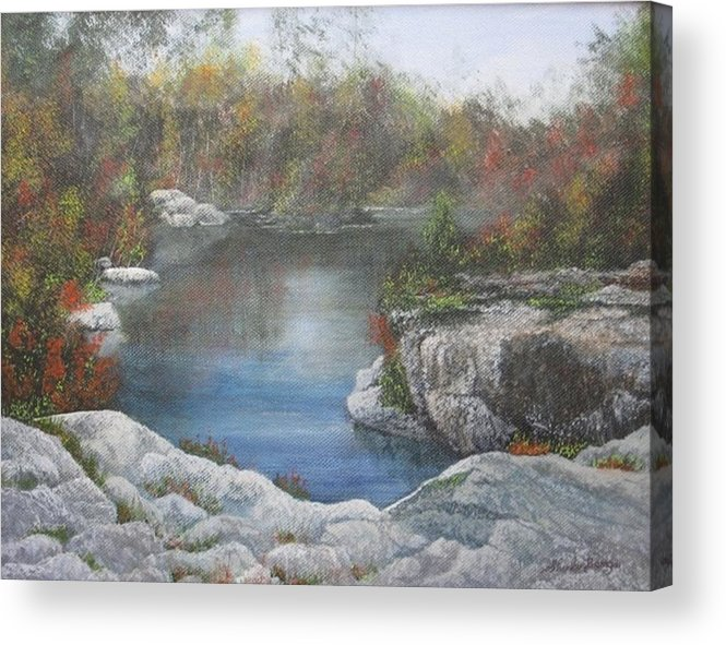 Landscape Acrylic Print featuring the painting Rocky Pond by Sheila Banga