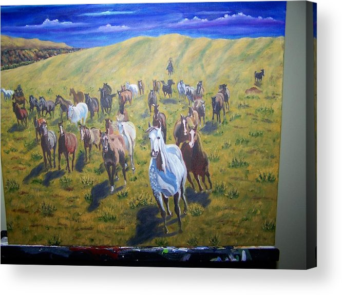 Horses Acrylic Print featuring the painting Roundup by Charles Vaughn