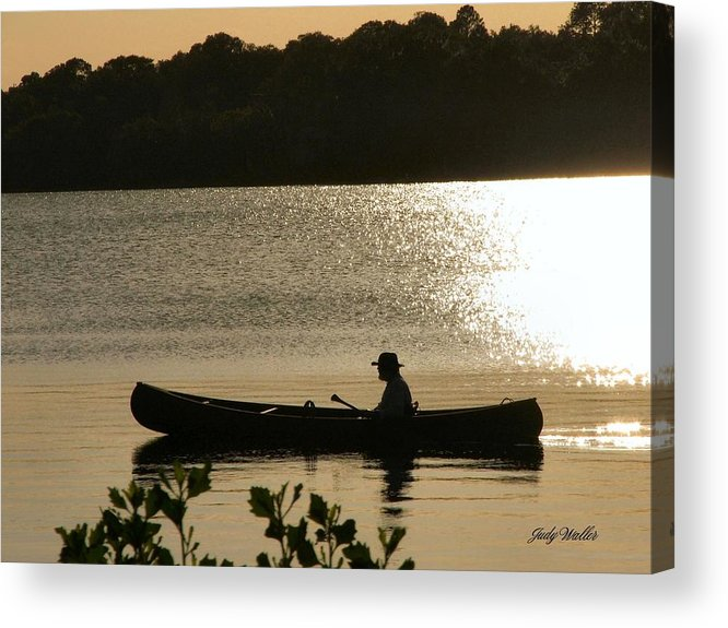 Water Acrylic Print featuring the photograph Rowing On The Lake by Judy Waller