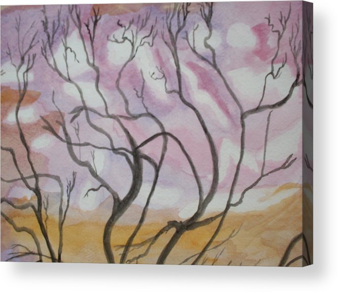 Landscape Watercolor Trees Acrylic Print featuring the painting Sailor's Sky by Warren Thompson
