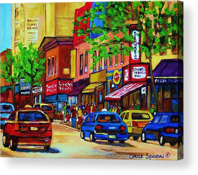 Cityscape Acrylic Print featuring the painting Saint Lawrence Street by Carole Spandau