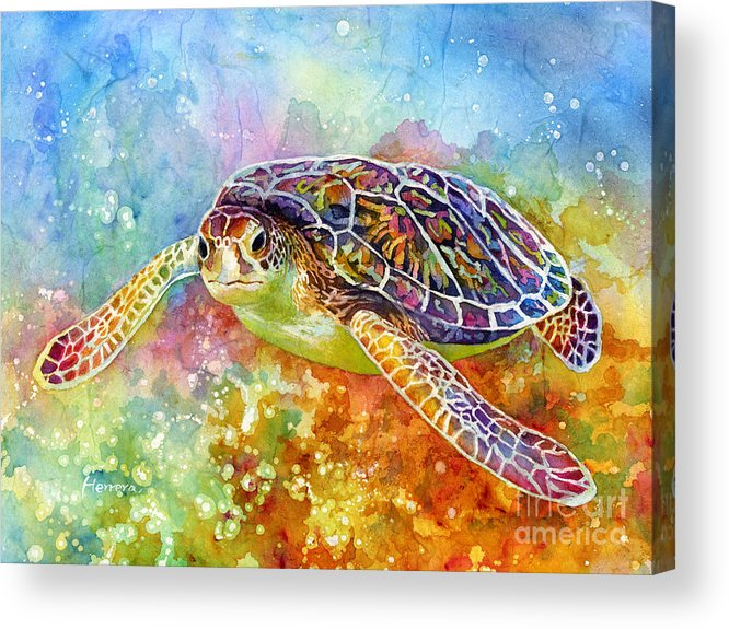 Turtle Acrylic Print featuring the painting Sea Turtle 3 by Hailey E Herrera
