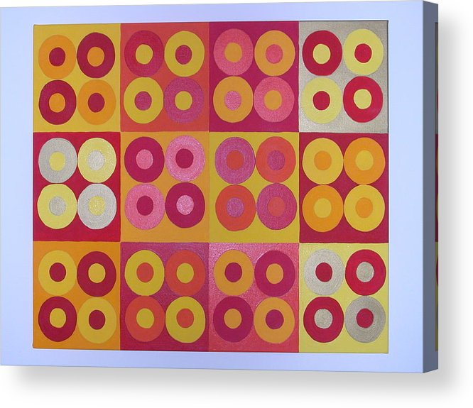 Squares Acrylic Print featuring the painting Seeing Red Squared by Gay Dallek