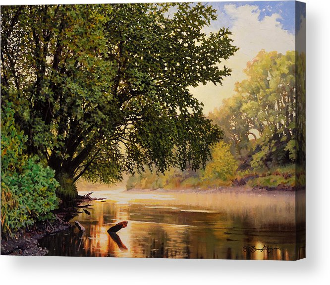 Landscape Acrylic Print featuring the painting September Dawn, Little Sioux River - studio painting by Bruce Morrison