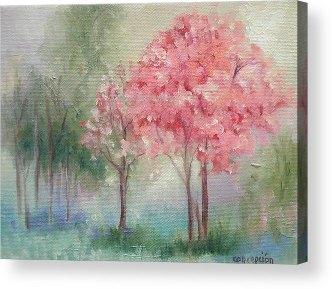 Spring Acrylic Print featuring the painting Sign of Spring by Ginger Concepcion