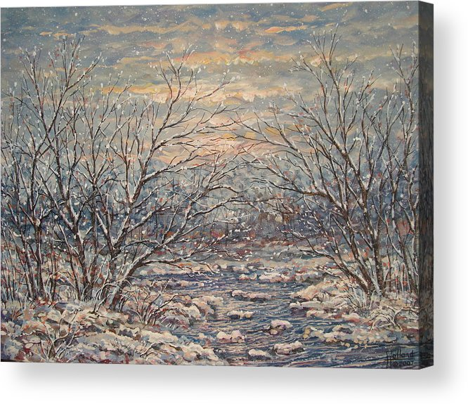 Landscape Acrylic Print featuring the painting Snow By Brook. by Leonard Holland