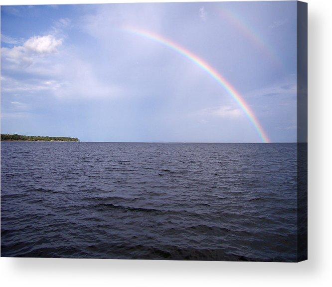 Rainbow Acrylic Print featuring the pyrography Somewhere over . . . by Nicole I Hamilton