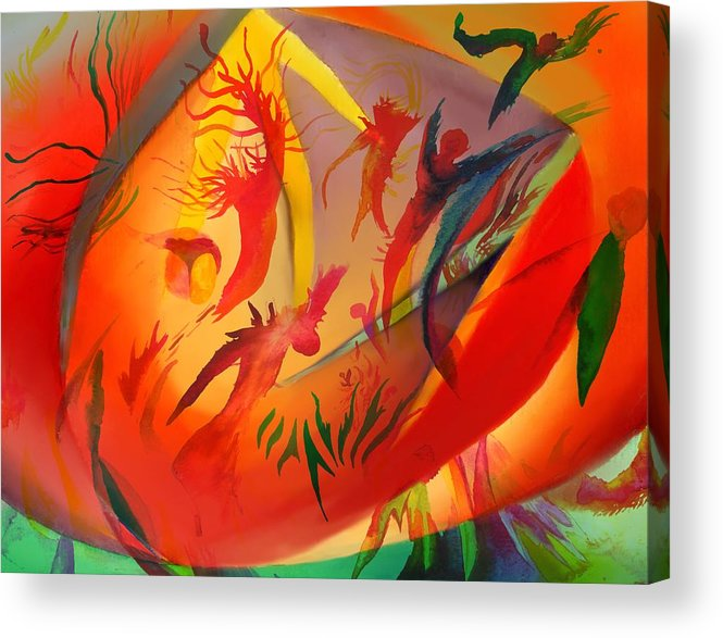 Abstract Acrylic Print featuring the painting Spirit Dance in the Cave by Peter Shor