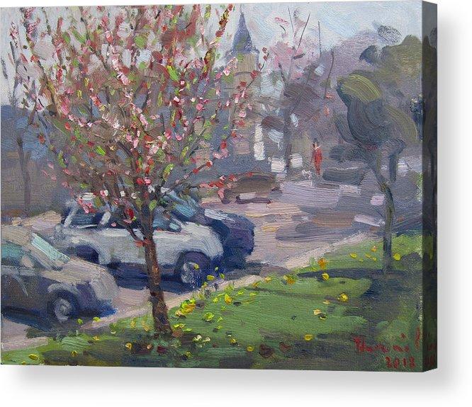 Spring Acrylic Print featuring the painting Spring At Main St North Tonawanda by Ylli Haruni