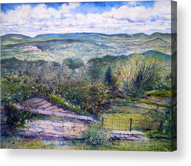 Luberon France Acrylic Print featuring the painting St Martin de Castillon Luberon France 2004 by Enver Larney