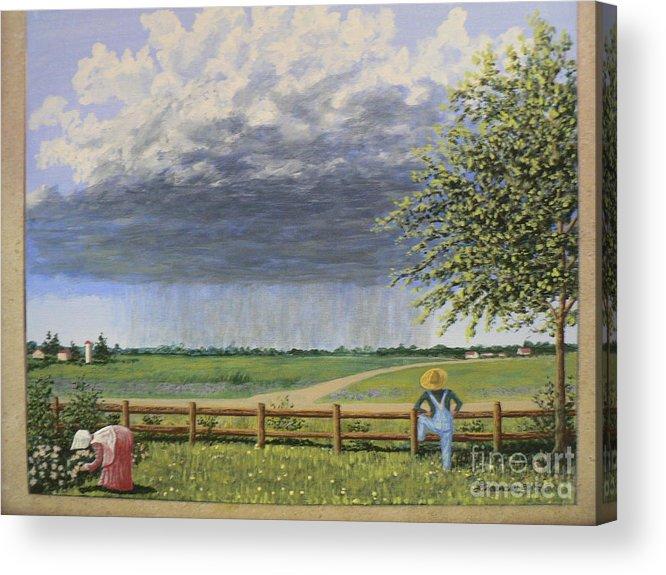 Farmer & Wife Acrylic Print featuring the painting Summer Rain by Don Lindemann