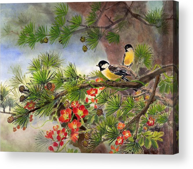 Chinese Trumpet Vine Acrylic Print featuring the painting Summer Vine With Pine Tree by Eileen Fong