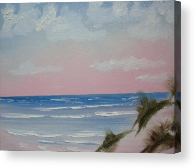 Landscape Oil Beach Acrylic Print featuring the painting Surfside by Warren Thompson