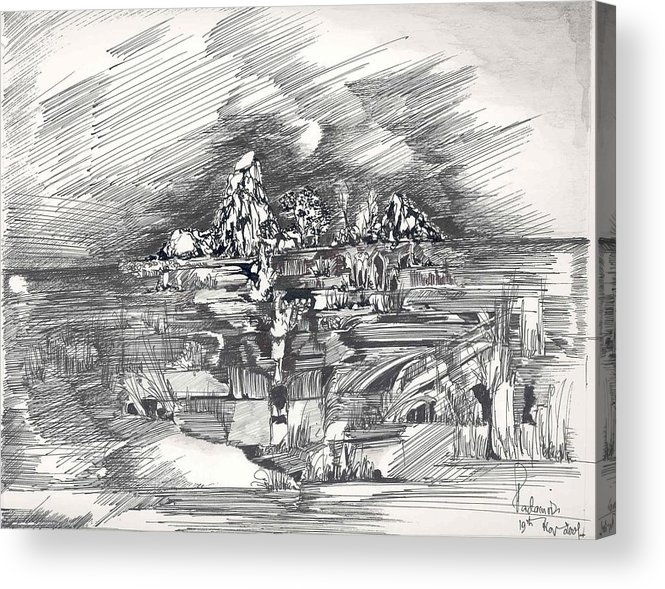 Surreal Acrylic Print featuring the drawing Surrealscape 3 by Padamvir Singh