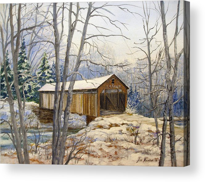 Oil Painting;bridge;covered Bridge;winter Scene;snow;landscape;winter Landscape; Acrylic Print featuring the painting Teegarden Covered Bridge in Winter by Lois Mountz