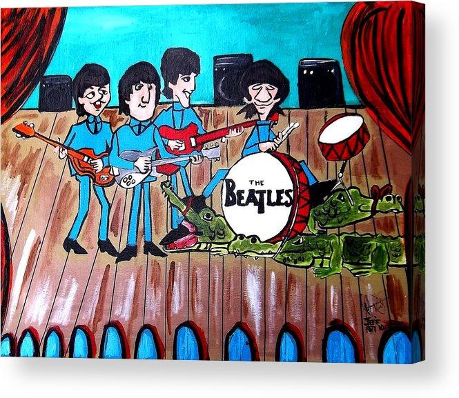 The Beatles Cartoon Acrylic Print By Jeffrey Foti
