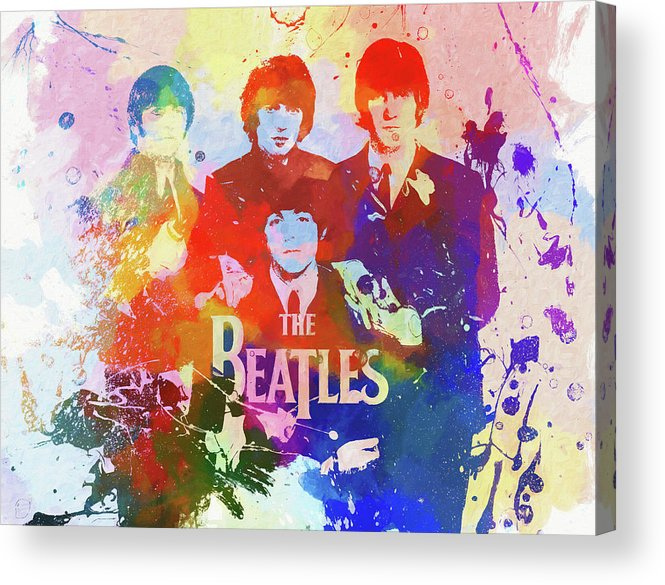 The Beatles Watercolor Acrylic Print featuring the painting The Beatles Paint Splatter by Dan Sproul