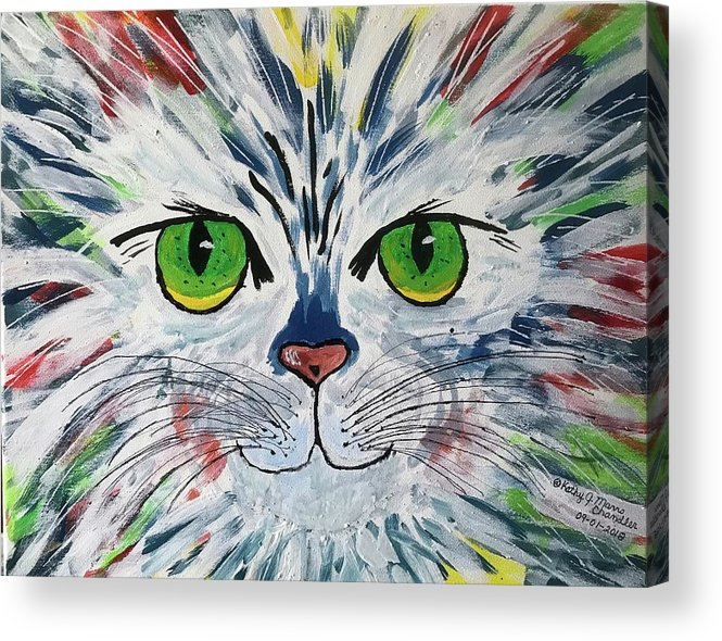 Cat Acrylic Print featuring the painting The Cat Got In My Paint by Kathy Marrs Chandler