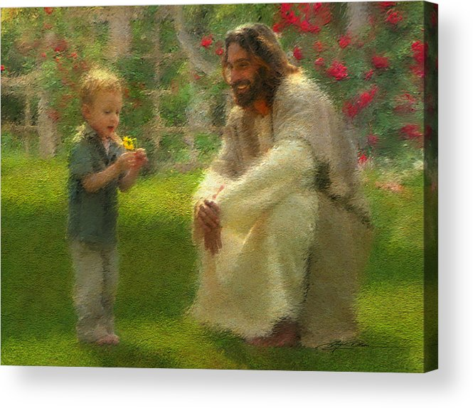 Jesus Acrylic Print featuring the painting The Dandelion by Greg Olsen