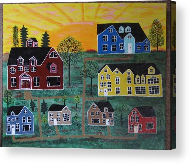 Sunshine Acrylic Print featuring the painting The Pines at Altonshine Sky by Mike Filippello