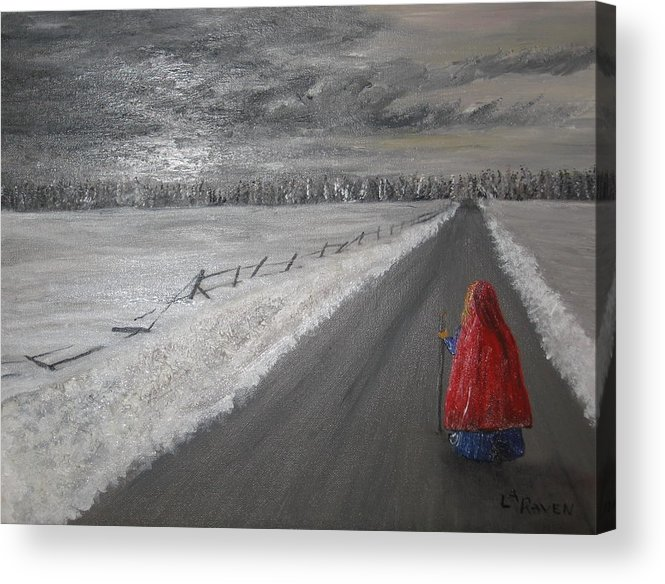 Landscape Acrylic Print featuring the painting The Road That Must Be Traveled by L A Raven