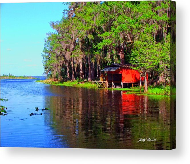 Lake Acrylic Print featuring the photograph The View From The Bench by Judy Waller