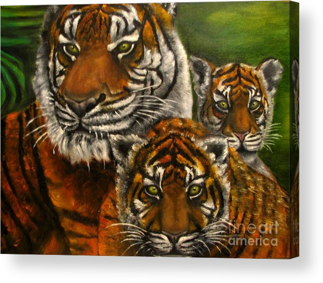 Animals Acrylic Print featuring the painting Tigers family oil painting by Natalja Picugina