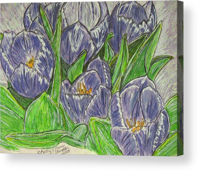 Tulips Acrylic Print featuring the painting Tulips in the Spring by Kathy Marrs Chandler