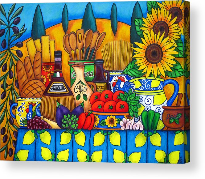 Still Life Acrylic Print featuring the painting Tuscany Delights by Lisa Lorenz