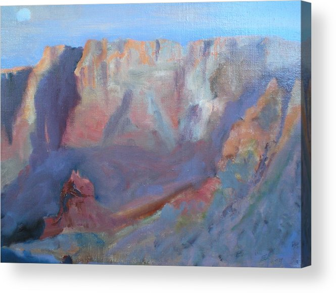 Landscape Sunset Virgin River Gorge Acrylic Print featuring the painting Twilight Time by Bryan Alexander