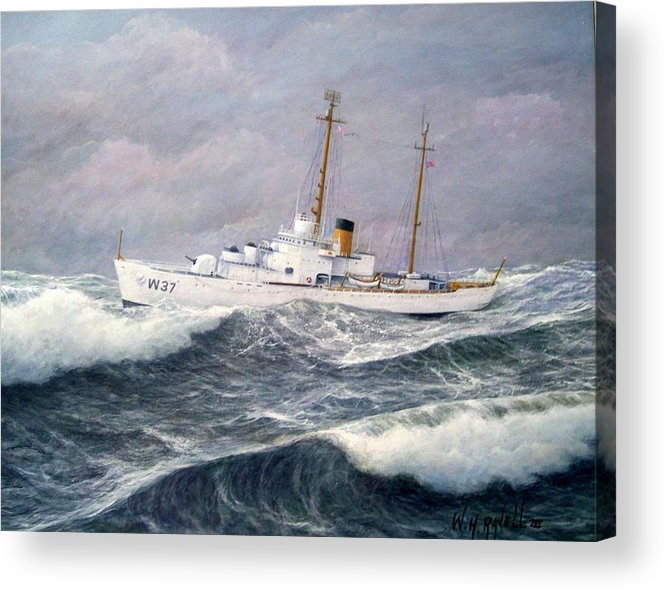 Ships Acrylic Print featuring the painting U. S. Coast Guard Cutter Taney by William H RaVell III