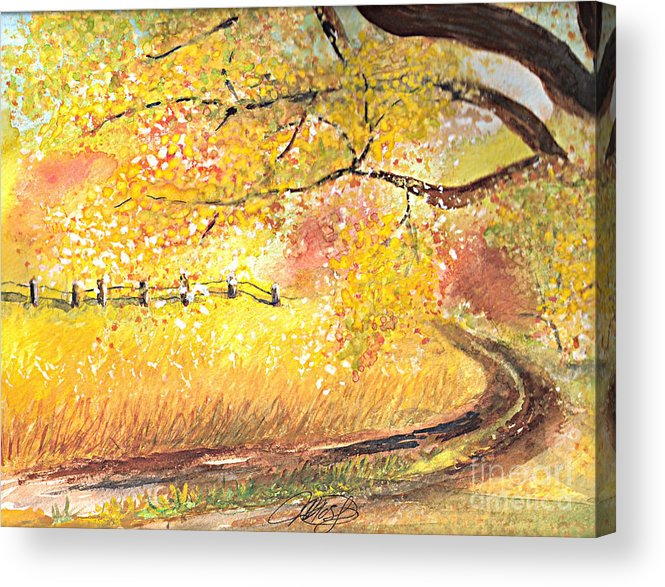 Landscape Acrylic Print featuring the painting Walk About by Vi Mosley