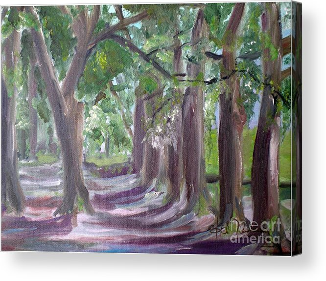 Late Afternoon Live Oak Trees Acrylic Print featuring the painting Walk In The Park by Hal Newhouser