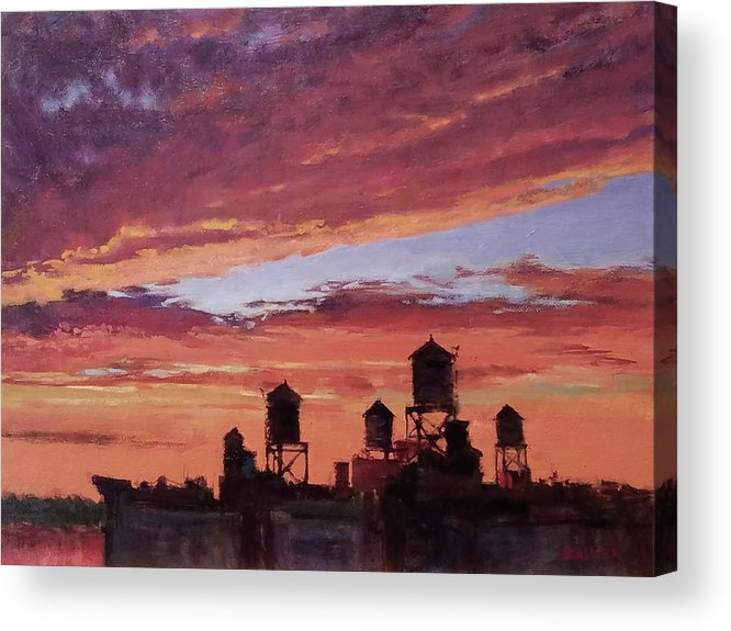Landscape Acrylic Print featuring the painting Water Towers At Sunset No. 4 by Peter Salwen
