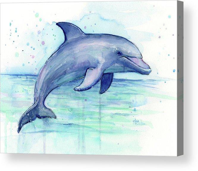 Watercolor Dolphin Painting - Facing Right Acrylic Print By Olga