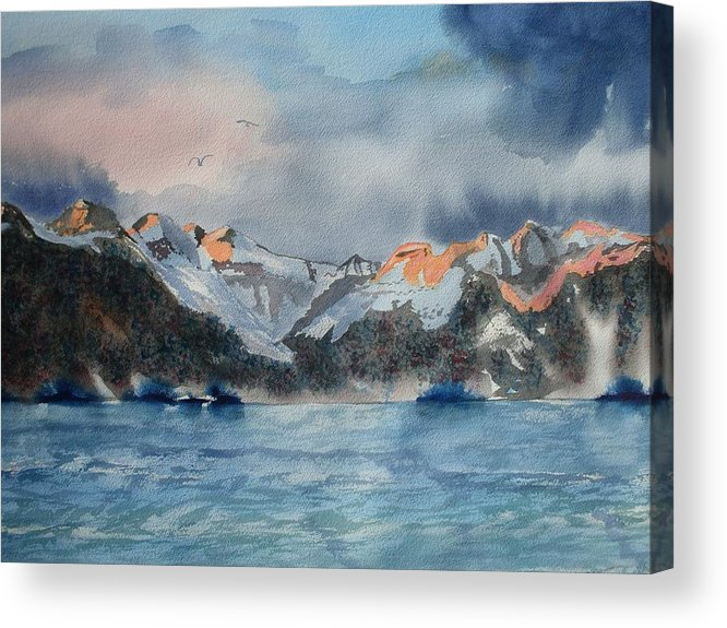 Alaska Coast Acrylic Print featuring the painting Where The Sun Never Sets by Warren Thompson