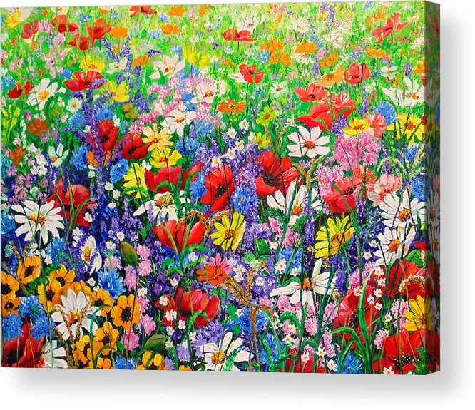 Wild Flowers Acrylic Print featuring the painting Wild Flower Meadow by Karin Dawn Kelshall- Best